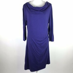 Patagonia Dress Purple Ruched Cowl Boat Neck